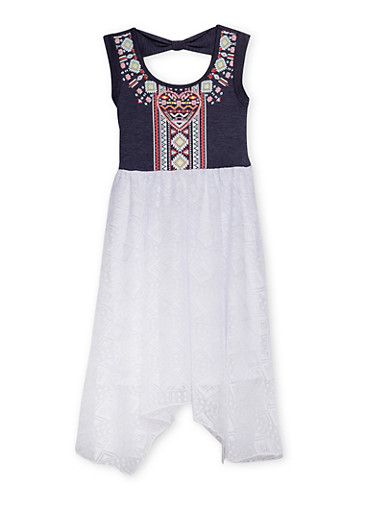 Girls 7-14 Knit Denim Dress with Printed Bodice and Lace Skirt,WHITE,large