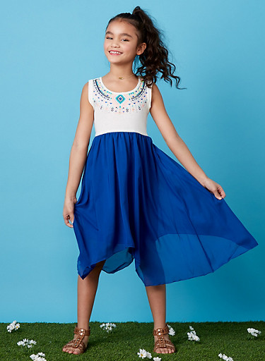 Girls 7-14 Sleeveless Dress with Aztec Print Accent and Chiffon Skirt,NAVY,large