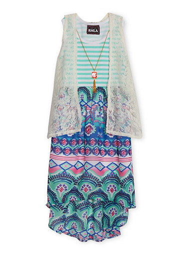 Girls 7-14 Multi Print Dress with Lace Vest and Necklace,SEAFOAM,large