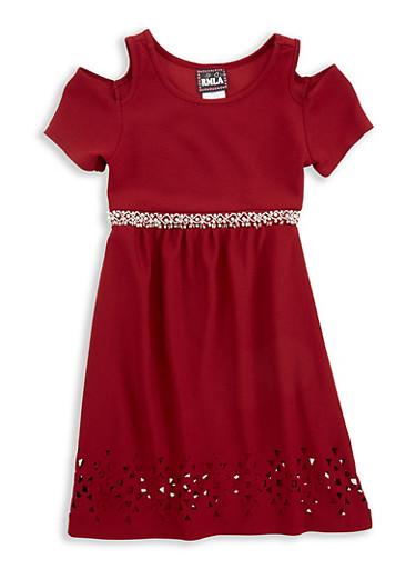 Girls 7-16 Laser Cut Hem Dress,BURGUNDY,large