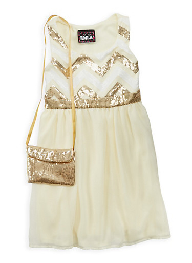 Girls 7-16 Sequined Skater Dress with Matching Purse,IVORY,large