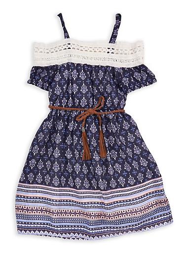 Girls 7-16 Printed Cold Shoulder Dress with Belt,NAVY,large