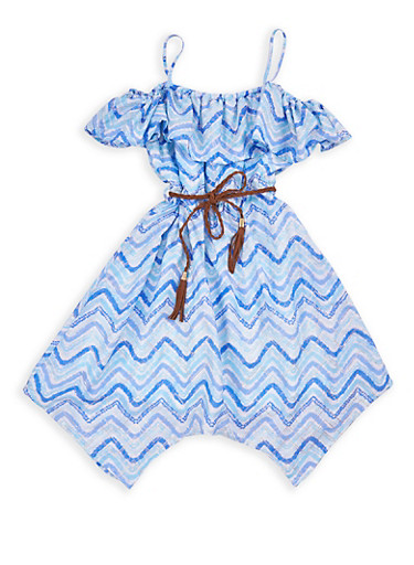 Girls 7-16 Chevron Print Cold Shoulder Skater Dress,TURQUOISE,large