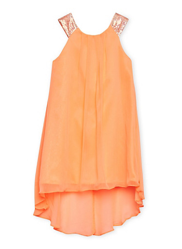 Girls 7-14 Dress with Sequined Straps,CORAL,large