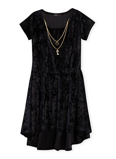 Girls 7-16 Crushed Velvet Dress with High Low Hem and Necklace,BLACK,large