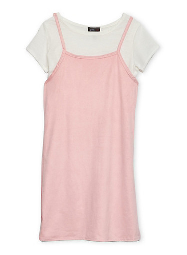Girls 7-16 Layered Slip Dress with Cropped Tee,MAUVE,large