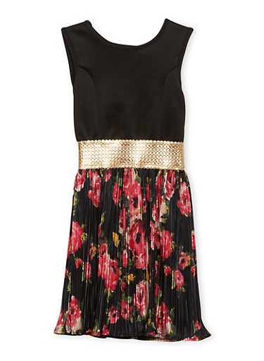 Girls 7-16 Pleated Fit and Flare Dress with Floral Print,BLACK,large