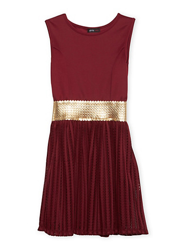 Girls 7-16 Sleeveless Dress with Metallic Trim,WINE,large
