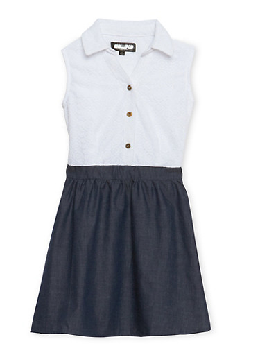 Girls 7-16 Chambray Skater Dress with Buttoned Lace Top,DENIM,large