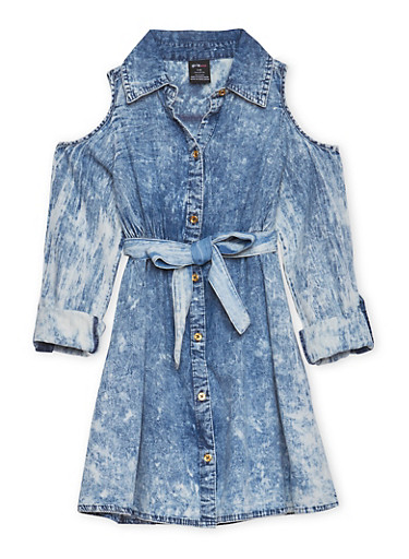 Girls 7-16 Acid Wash Denim Dress,DENIM,large