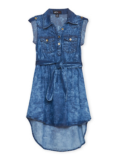 Girls 7-16 Belted Denim Dress,DENIM,large