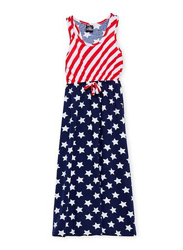 Girls 7-16 Americana Print Tank Dress,NAVY,large