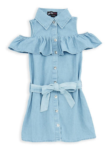 Girls 7-16 Ruffle Denim Button Front Dress,DENIM,large
