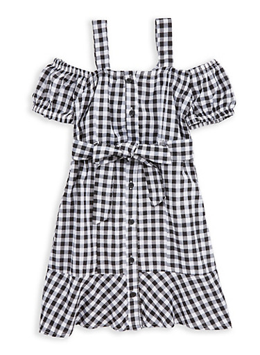 Girls 7-16 Gingham Off the Shoulder Shift Dress,BLACK/WHITE,large