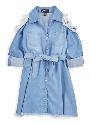 Girls 7-16 Crochet Trim Denim Shirt Dress,DENIM,large