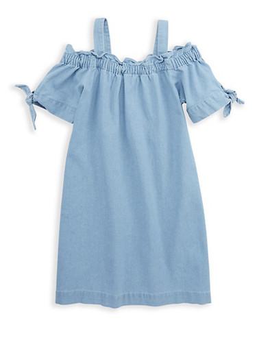 Girls 7-16 Off the Shoulder Denim Dress,DENIM,large