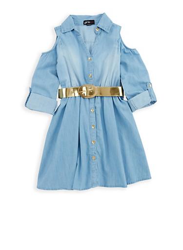 Girls 7-16 Denim Button Front Skater Dress,MED,large