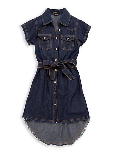Girls 7-16 Denim Frayed Hem Shirt Dress,DARK,large