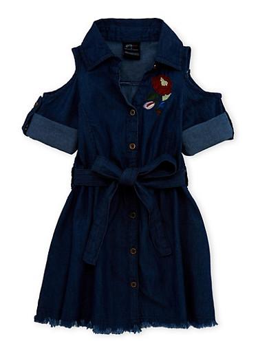 Girls 7-16 Flower Embroidered Belted Denim Dress,DARK,large