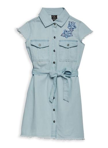 Girls 7-16 Embroidered Denim Dress,MEDIUM WASH,large