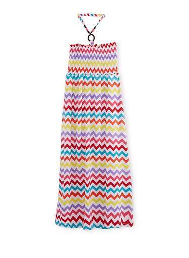 Girls 7-16 Chevron Print Halter Dress,RED,large