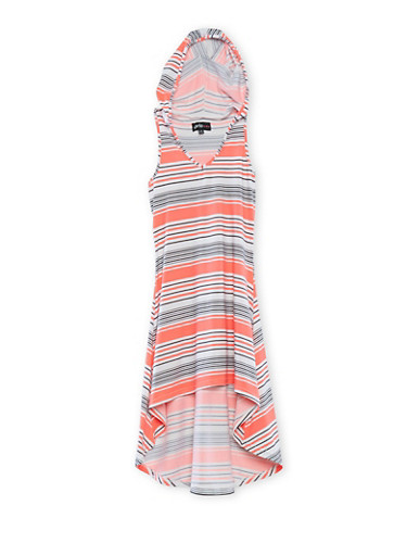 Girls 7-16 Striped Dress with Hood and High-Low Hem,BLK/WHT/PNK,large