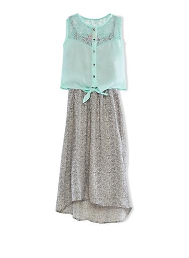Girls 7-16 Longline Chiffon Zig Zag Dress With Sleeveless Lace Yoke Button Up Top,AQUA,large