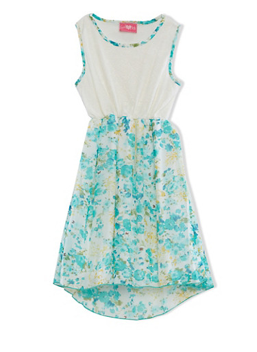 Girls 7-16 Sleeveless Dress With Lace And Floral Print Chiffon Overlays,TURQUOISE,large
