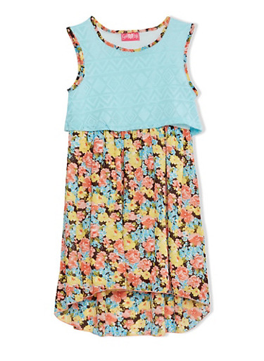Girls 7-16 Floral Print Dress With High-Low Hem and Crochet Overlay,TURQUOISE,large