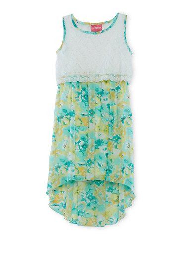 Girls 7-16 Floral Print Dress with Lace Overlay and High-Low Hem,WHT/MINT,large