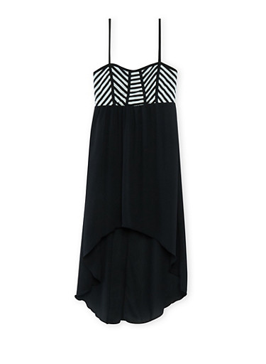 Girls 7-16 Chiffon Dress with Striped Bodice and High-Low Hem,BLK/WHT/BLK,large
