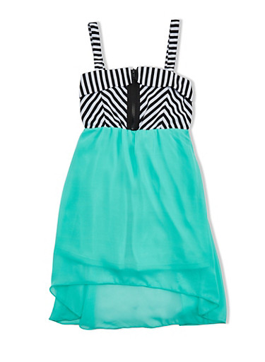 Girls 7-16 High-Low Dress with Striped Zipper Bodice,MINT/BLK/WHT,large