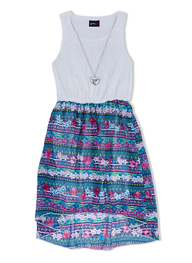 Girls 7-16 Lace Paneled Dress with Removable Necklace and Aztec Print Skirt,IVORY,large