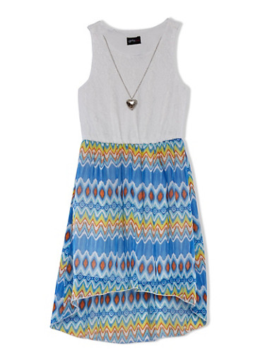 Girls 7-16 Lace Dress with Heart Necklace and Ikat Print Skirt,BLUE,large