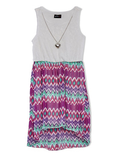 Girls 7-16 Lace Dress with Heart Necklace and Printed Skirt,FUCHSIA,large