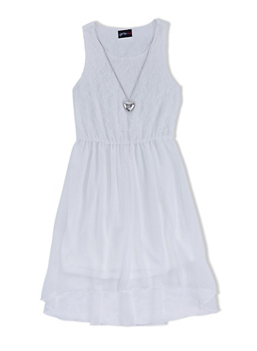 Girls 7-16 Mixed Media Dress with Heart Necklace and Lace Bodice,IVY/IVY,large