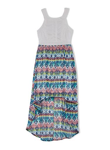 Girls 7-16 High-Low Dress with Aztec Print High-Low Hem,IVORY,large