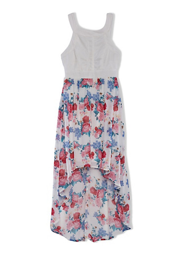 Girls 7-16 Sleeveless Dress with Floral Print High-Low Skirt,IVORY,large