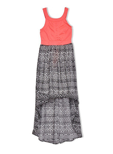 Girls 7-16 Sleeveless Dress with Aztec Print High-Low Skirt,NEON PINK,large