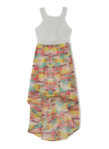 Girls 7-16 Sleeveless Dress with Ikat Print High-Low Skirt,IVORY,large