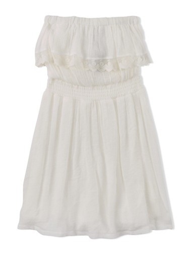 Girls 7-16 Gauzy Crochet Dress with Elastic at Chest,IVORY,large