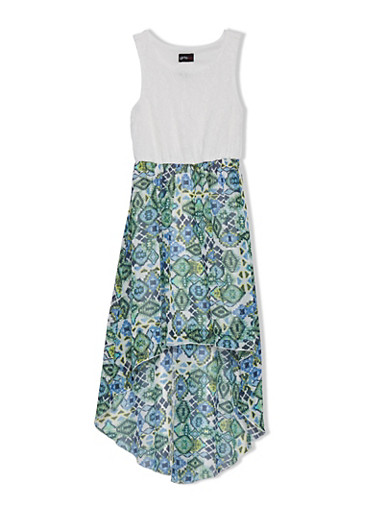 Girls 7-16 Sleeveless Dress with Aztec Print High-Low Skirt,IVY LC/NVY/MINT TRBL,large