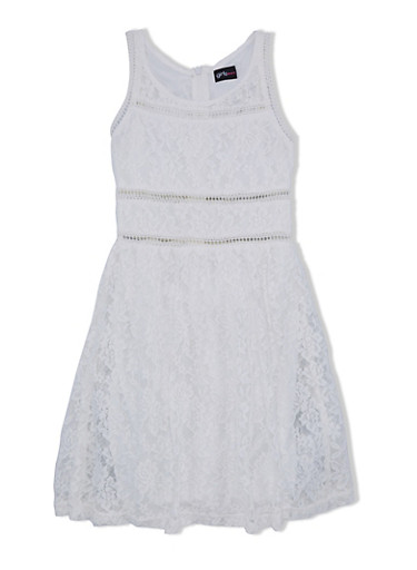 Girls 7-16 Lace Dress with Eyelet Trim at Waist,IVORY,large