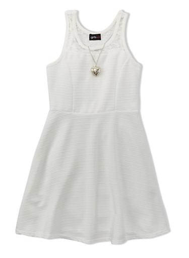 Girls 4-16 Sleeveless Skater Dress with Lace Yoke And Heart Necklace,IVORY,large
