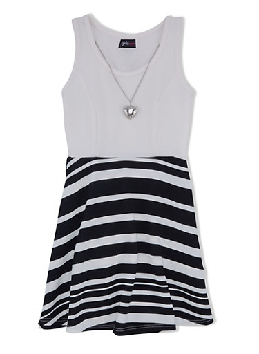 Girls 7-16 Textured Dress with Striped Skirt and Heart Necklace,IVY/BLK/IVY,large