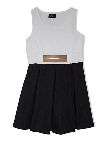 Girls 7-16 Textured Dress with Faux Plaque Belt,IVY/BLK,large