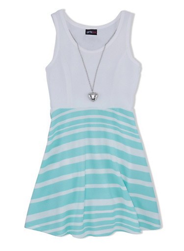 Girls 7-16 Textured Dress with Striped Skirt and Heart Necklace,MINT,large