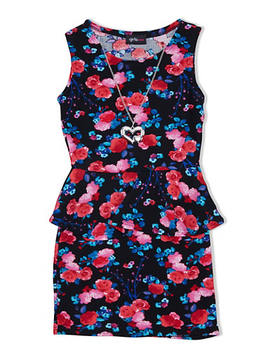 Girls 7-16 Peplum Dress with Floral Print Throughout and Heart Necklace,BLK FLORAL,large