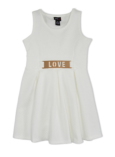 Girls 7-16 Textured Dress with Love Faux Plaque Belt,IVORY,large