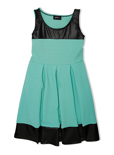 Girls 7-16 Skater Dress with Faux Leather Trim and Pleated Skirt,GREEN S/BLK,large